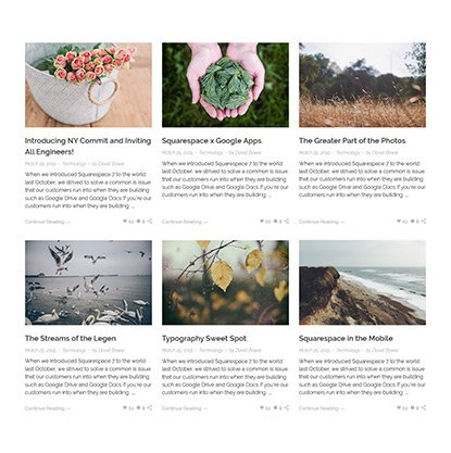 Blog grid archive page
