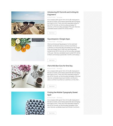 Land style blog archive page